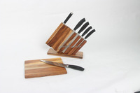 High Quality Stainless Steel kitchen knife set with Acacia wooden holder