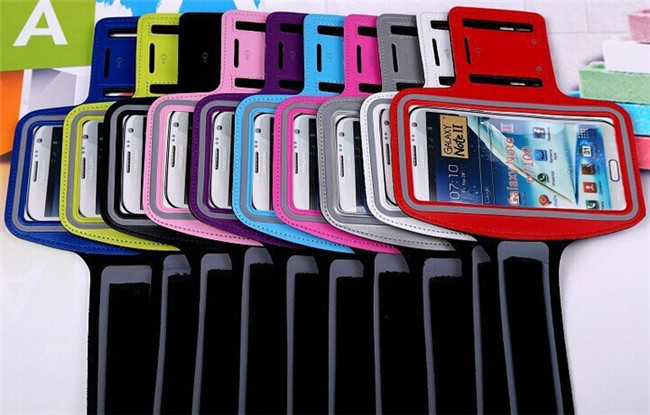 Mix Colors OEM Running Sport Armband Cases for Samsung Galaxy Note3 III 2 with Arm Band Key Hole