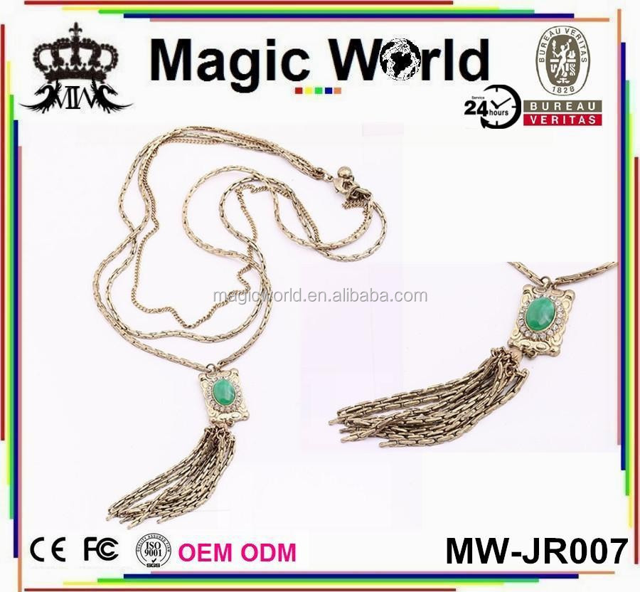 GOLD CHAIN GEM TASSEL FASHION JEWELRY LONG NECKLACE