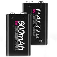 Factory Wholesale high power 6f22 006p 9V Lithium Li ion 600mAh rechargeable battery