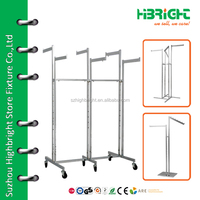 retail store metal hanging clothes display rack