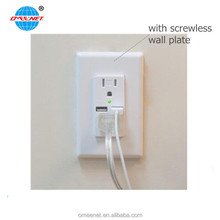 Mobile Charging USB Wall Mount 15A Socket Outlet With Screwless Wall Plate 3.1A USB Ports