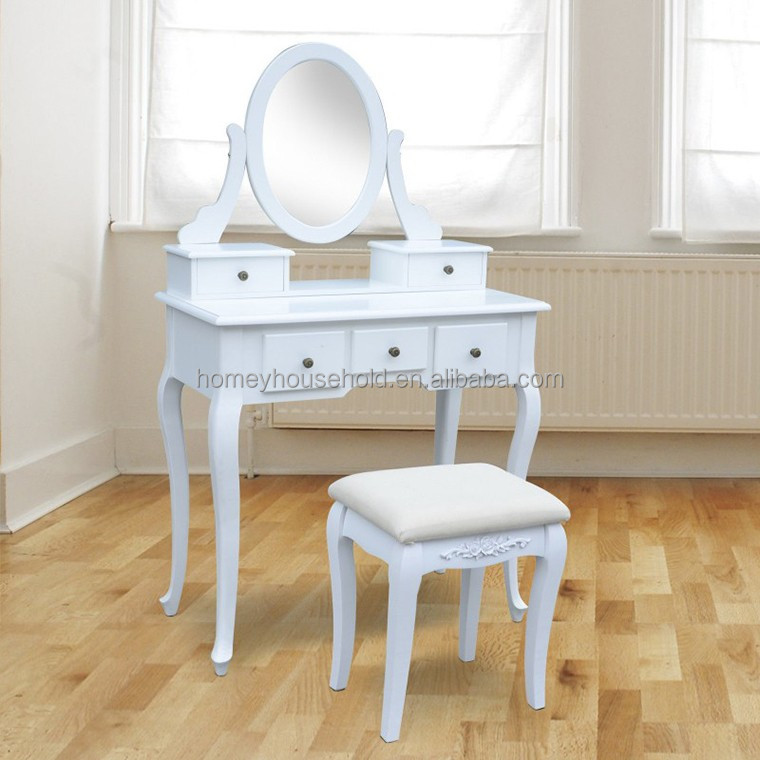 Chinese cheap furniture wooden mirrored dressing table and upholstered stool