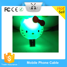 Hot Promotional Newest universal products New cartoon led light charater Micro transmit and charging cable usb data line