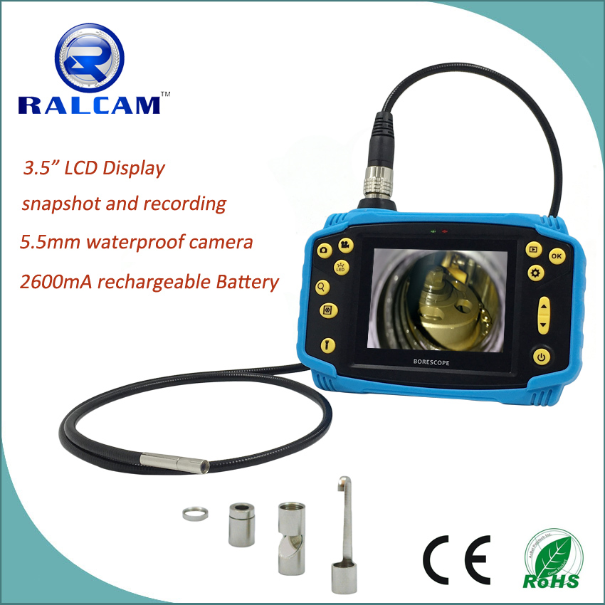 Ralcam Waterproof Diameter 5.5mm Digtal Inspection Camera Endoscope Borescope with Side View Mirror Accessories