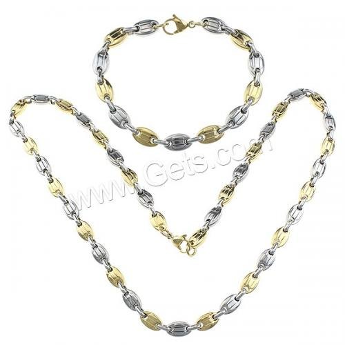 Flat Oval Jewelry Sets Refine Stainless Steel bracelet & necklace plated two tone Length:Approx 23.5 Inch Approx 8 Inch