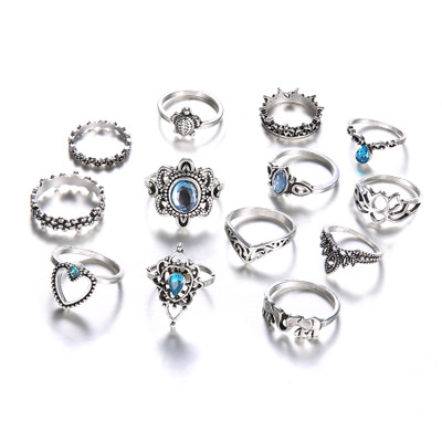 Explosion models Women Hollow Diamond Ring Set Girls Vintage Carving Ring <strong>13</strong> Pieces of Lady Ring Set
