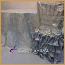 TL003A new style elegant silver beaded sequin table overlay, silver sequin tablecloth