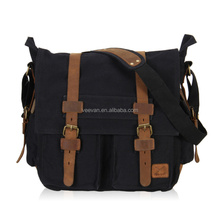 Fashion men messenger bags military vintage canvas&genuine leather cross body bags