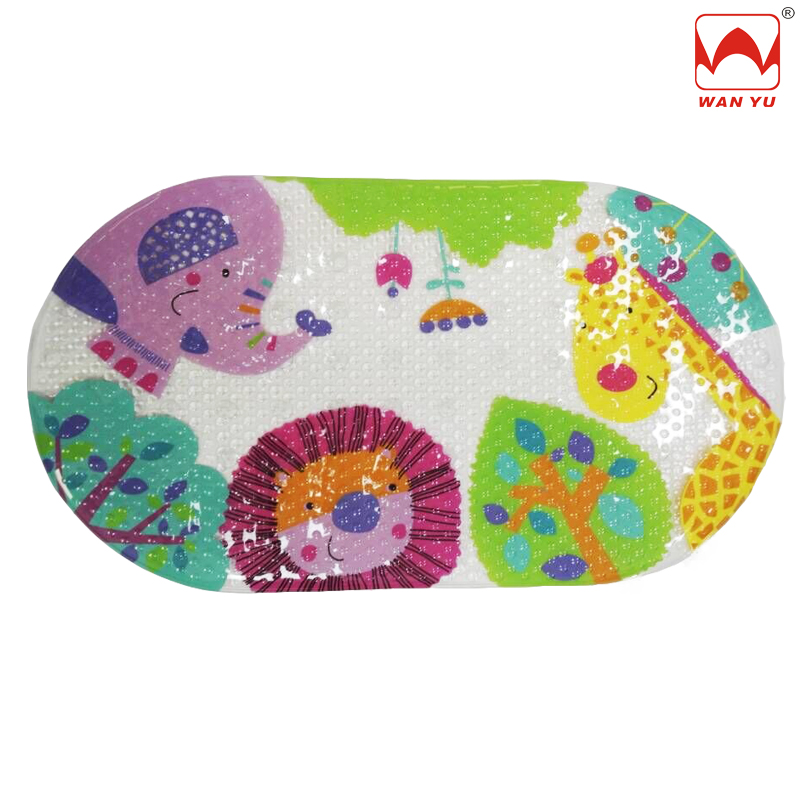 Adorable Adventure Forest Jungle Lion Elephants Giraffes Fully Suction Cupped Baby Tub Bath Mat with Cushioned Surfac