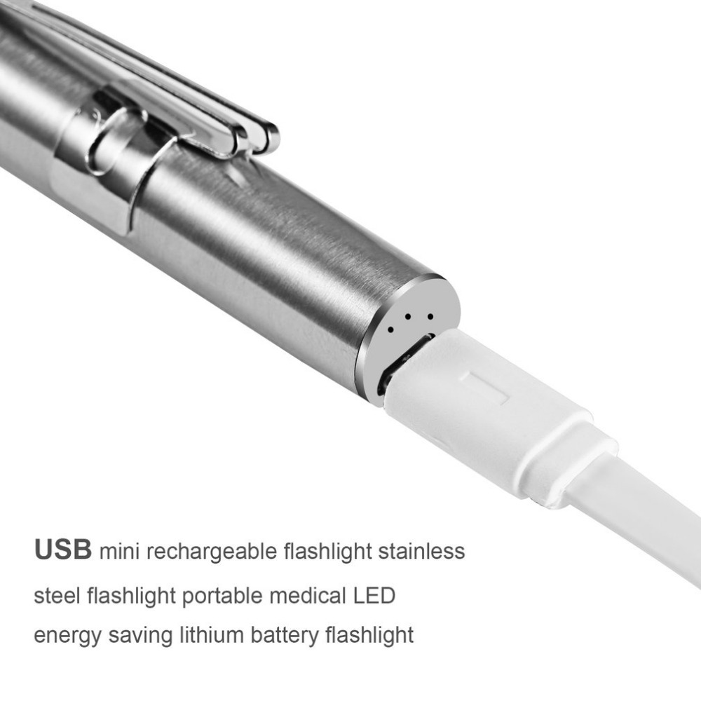 Portable Mini Stainless Steel USB Rechargeable medical pen torch light for doctor