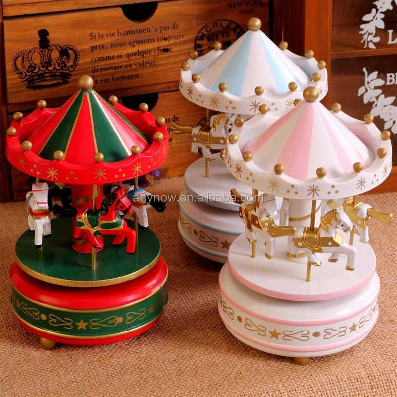 Portable small merry go round carousel music box