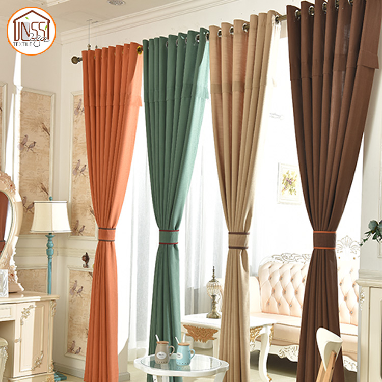 Simple Soft Woven Pleated Plain Colors Cotton Fabric Eyelets Curtain