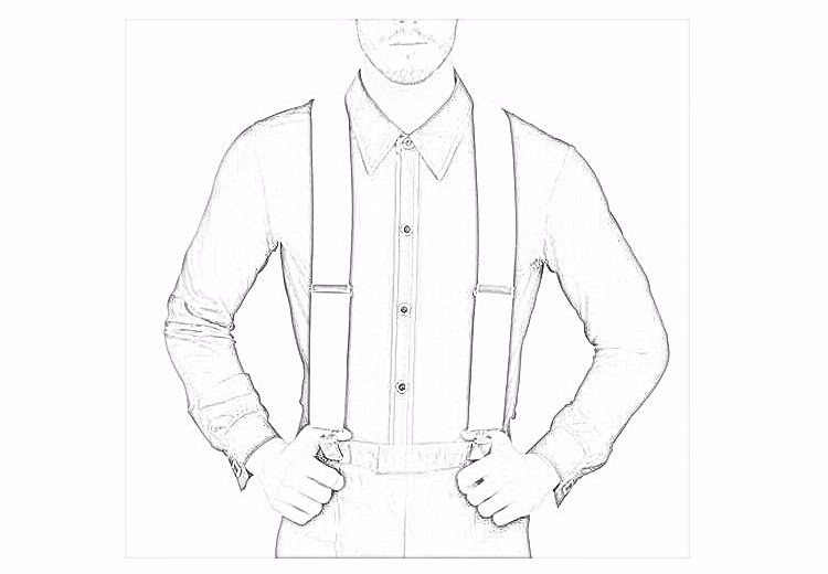 50YP3J01 Classical solid men leather suspenders wholesale