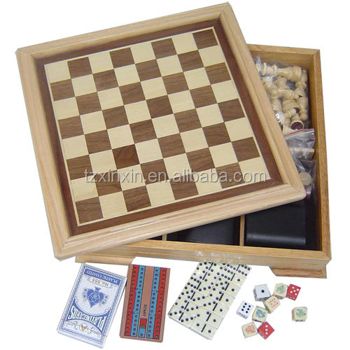 wooden 7 in 1 combination chess game wooden multi game box with backgammon checkers chess game domino set