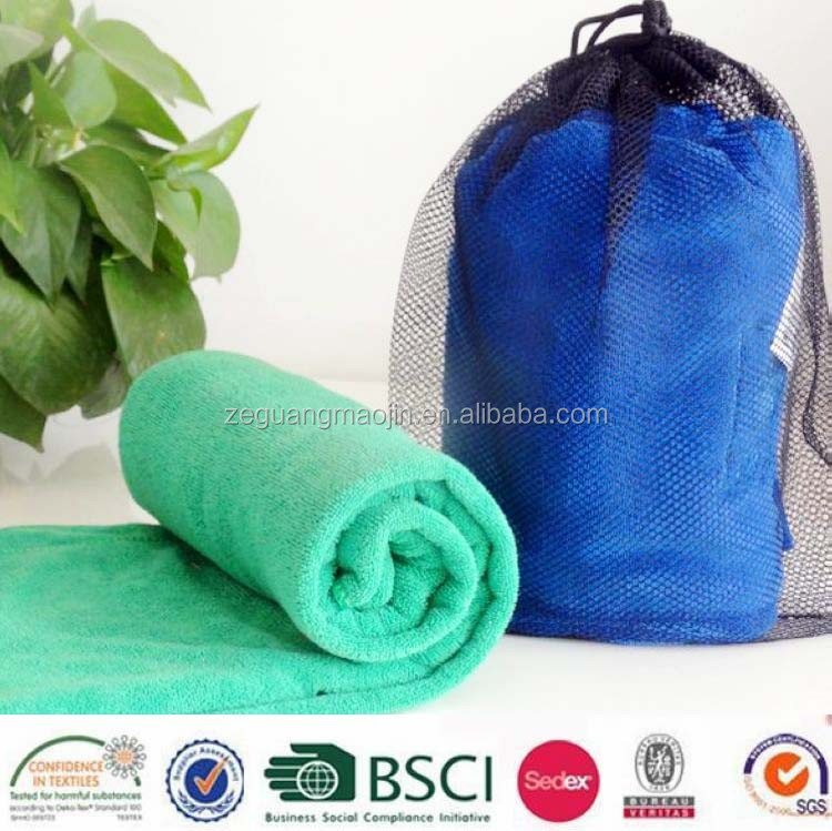 New China Products Microfibre Towel With Mesh Pouch
