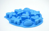 leaf shape 8 cavity insects silicone cake mould