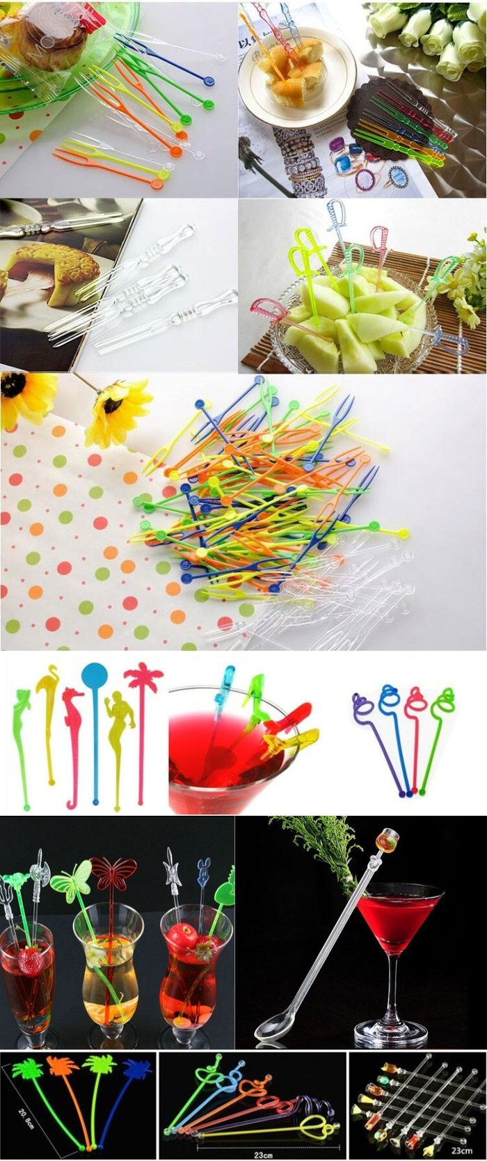 Disposable Degradable 10/12 cm Transparent Plastic Prism Picks