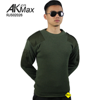 Military Olive Sweater Army Round Neck