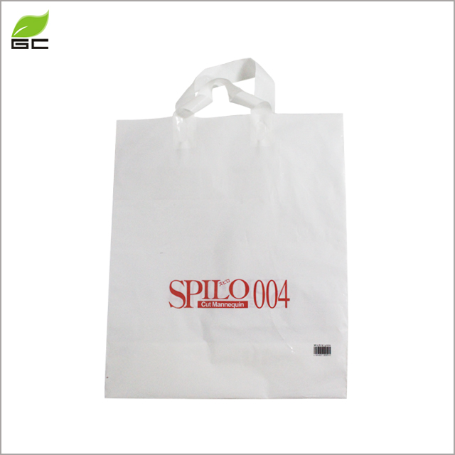 soft loop handle plastic bag with customized logo retail shopping bag for clothes packagings
