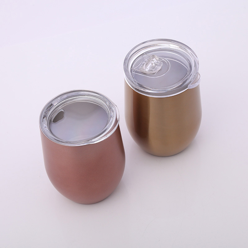 Bpa Free Stainless Steel Stemless Wine Glasses 12oz Vacuum Insulated Beer Mug With Clear Lid