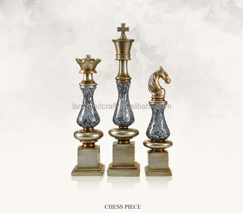 USA Europe Art Chess Modern Home Decoration Pieces Marking For Chrismas Tabletop Decor Indoor Office School With Black Gold