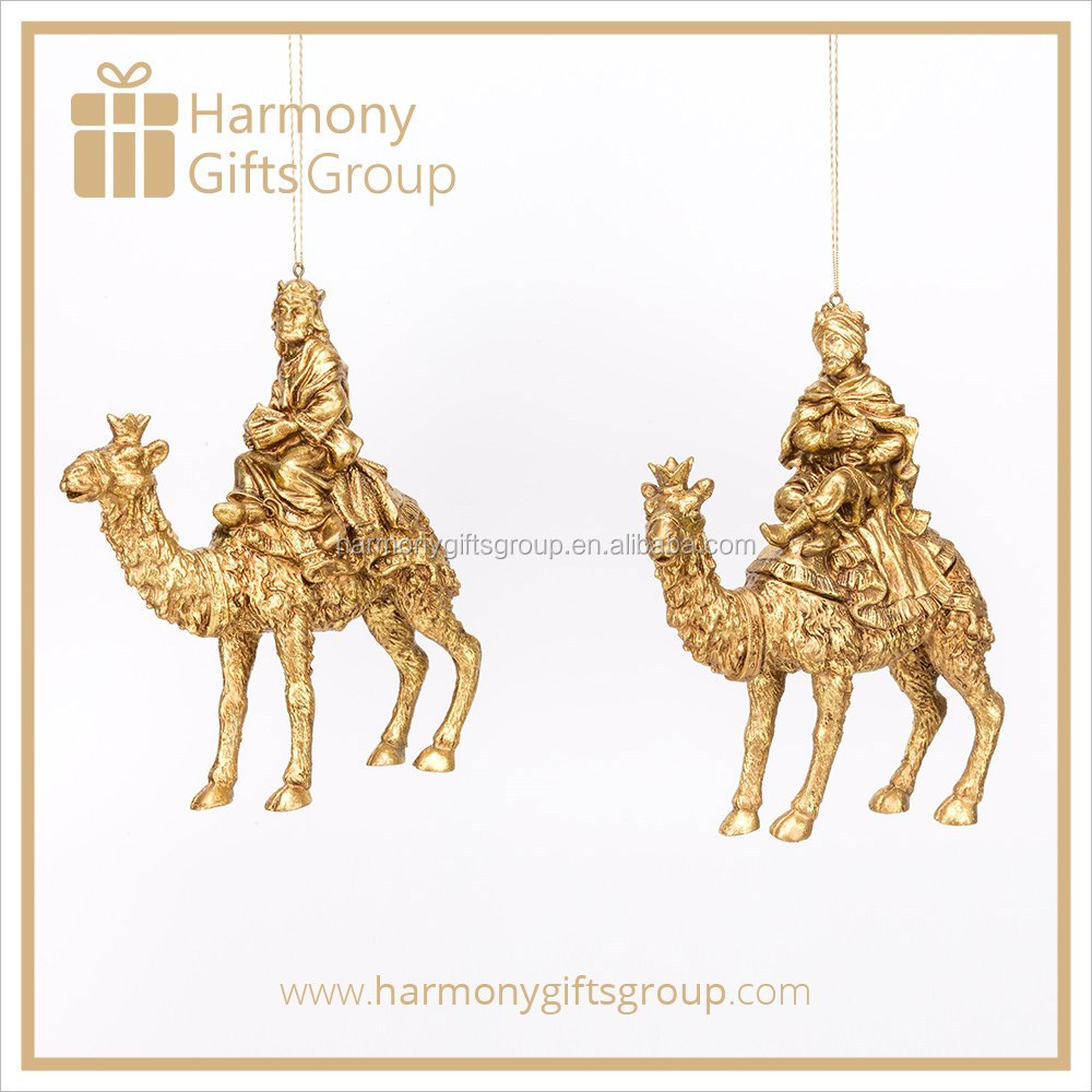 Gold Three Kings Holding Treasure on Camel Resin Figure Home Decoration