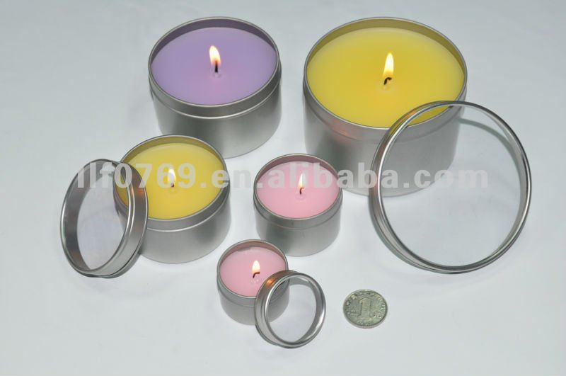 round metal scented candle tin,candle holder
