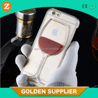 liquid red wine bottle glass case plastic custom 3d cell phone cover for iphone 6 case