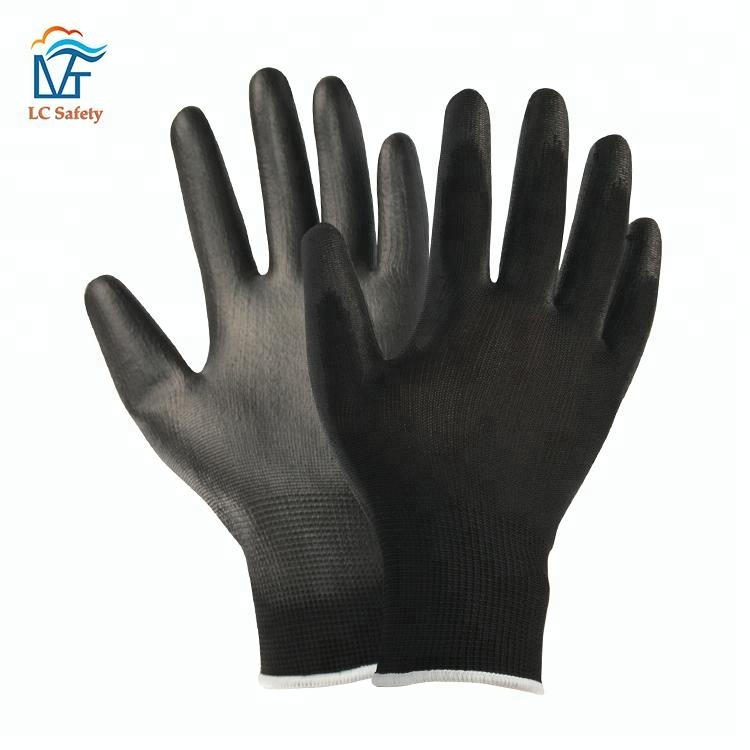 Anti-slip Black Nylon PU Coated Working Safety <strong>Gloves</strong> for Men