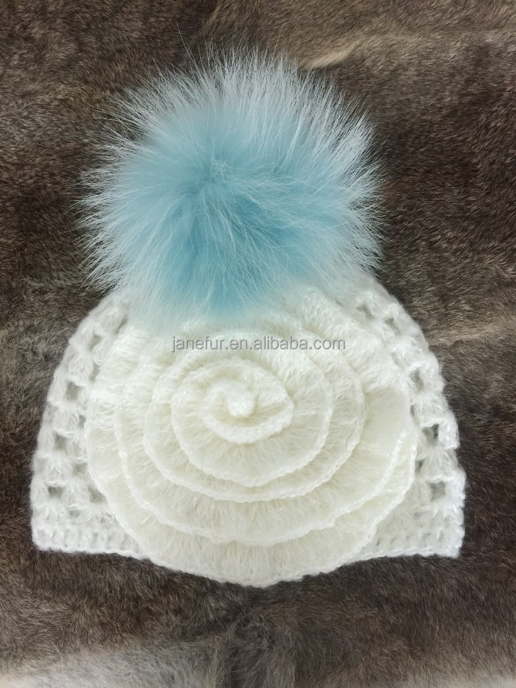 Fashion Hollow Beanie Hat Sky Blue Raccoon Fur Ball Top And Fancy Bead Design For Women