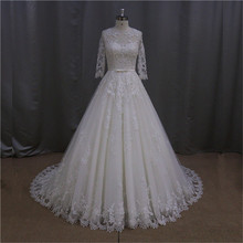 ivory lace v-neck muslim dress wedding gowns