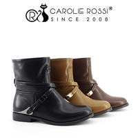 Women Shoes Proveedor China Special Straps PU Boots with Custom Logo