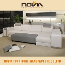 Latest Genuine Leather lounge suite Living Room Sofa Set Designs 107b