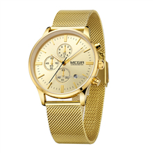Hot sales 6 hands simple men watch brand your own Megir watches cheap chronograph watches