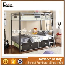 Strong bedroom metal double bunk bed design with box, Indian bedroom bed designs
