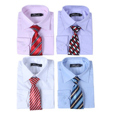 Pink White Purple Blue Baby Boys Formal Blouses Summer Cotton Long Sleeves Boys Dress Shirts With a Tie for Free