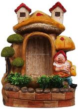 personalized handmade painted garden decorative resin gnome water fountain