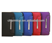 Leather Wallet Case for Galaxy S4 Mini with Hand Strap