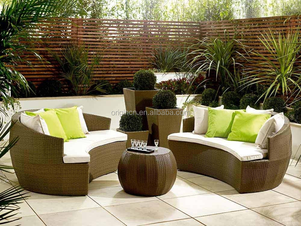 Beautiful Wholesale Garden Decorative Lounge Furniture Rattan Outdoor Half  Moon Sofa