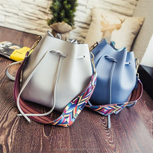 Korean fashion bucket wide color Striped strap women shoulder handbag bag with free purse
