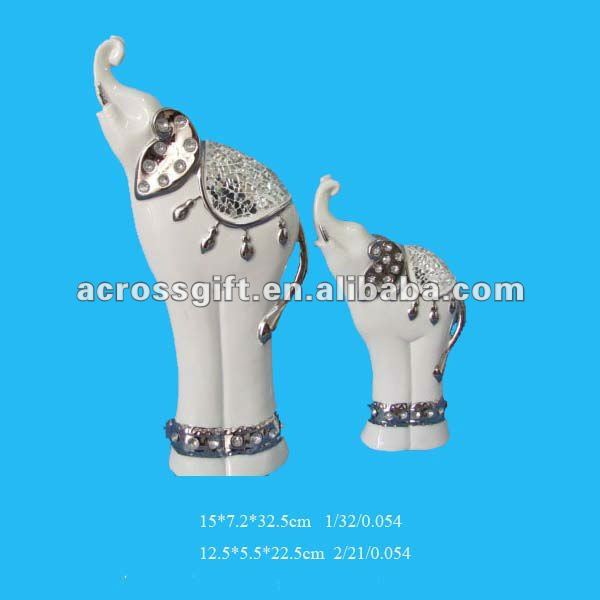 electroplated elephant white ceramic sculpture craft
