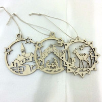 8*8 cm chirstmas wood holiday hanging crafts