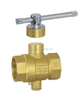 Lever Handle Magnetic Lockable Forged Brass Ball Valve with Temperature Measuring Function