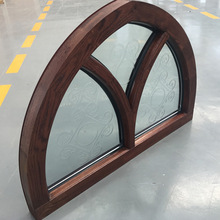 Customized Specialty Shapes Design Arc Top Oak Wood Window Frame with Carved Glass
