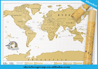 Factory price 88x52CM Gold Foil World Map Easy To Scratch Off