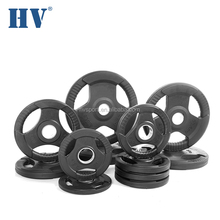 Rubber cover olimpic gym cast iron barbell weight plate