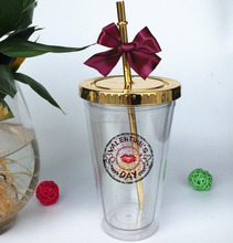 Double insulated AS Gift Straw Cup with lid Plastic Cup With Swirly Straw