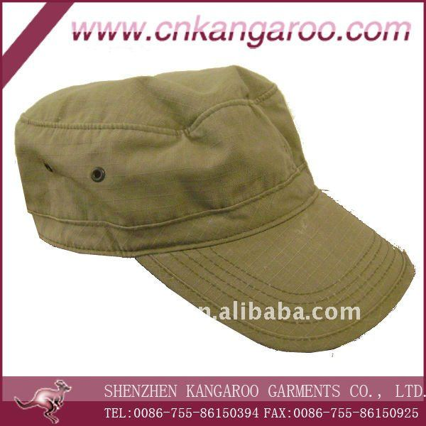 khaki army cap and hat, 100%cotton rip stop hats
