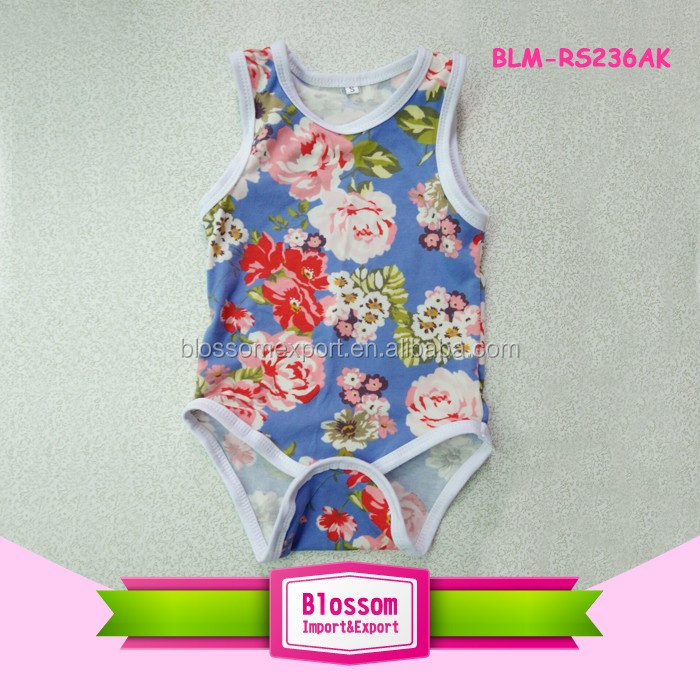 Design Your Own Romper 2017 Summer Baby Rompers Cotton Sleeveless Floral Printed Girls Blank Carters Baby Onesie Wholesale
